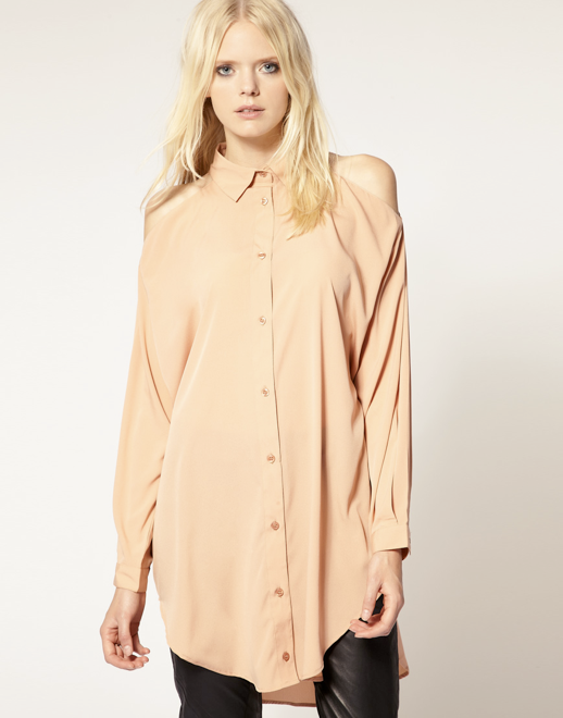 JUST FEMALE LABEL ASOS COLLECTION BASIC CLEAN SIMPLE PEACH ORANGE CUT OUT SHOULDER BUTTON UP DOWN SHIRT 2