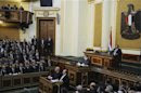 Egyptian President Mohamed Mursi delivers a speech to the Shura Council, or upper house of parliament, in Cairo