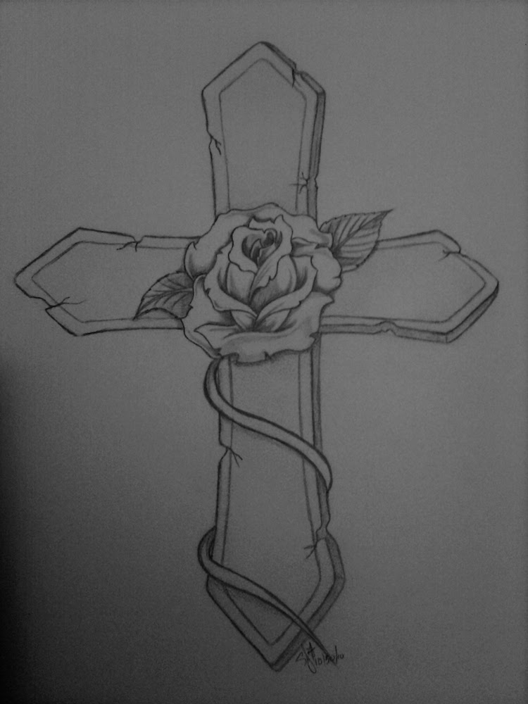 Cross And Rose Tattoo Design