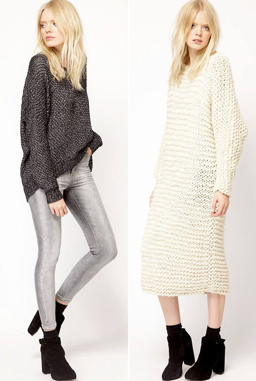 LE FASHION BLOG COLLECTION CRUSH FALL PIECES ASOS JUST FEMALE BLONDE MODEL SLOUCHY KNIT OVERSIZED METALLIC GREY GRAY SWEATER SKINNY JEANS BLACK ANKLE BOOTS CREAM OFF WHITE MIDI SWEATER DRESS