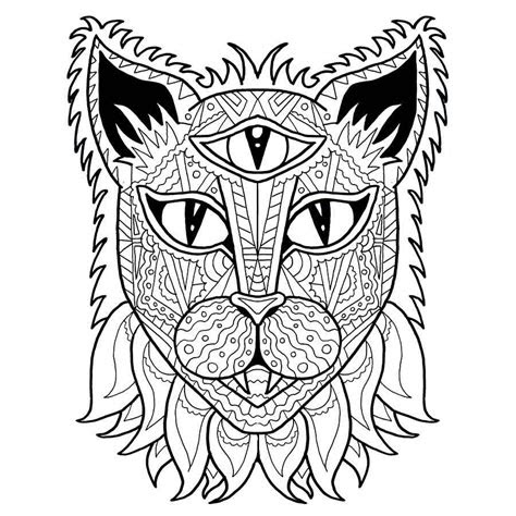 cat coloring page adult coloring  anti stress coloring