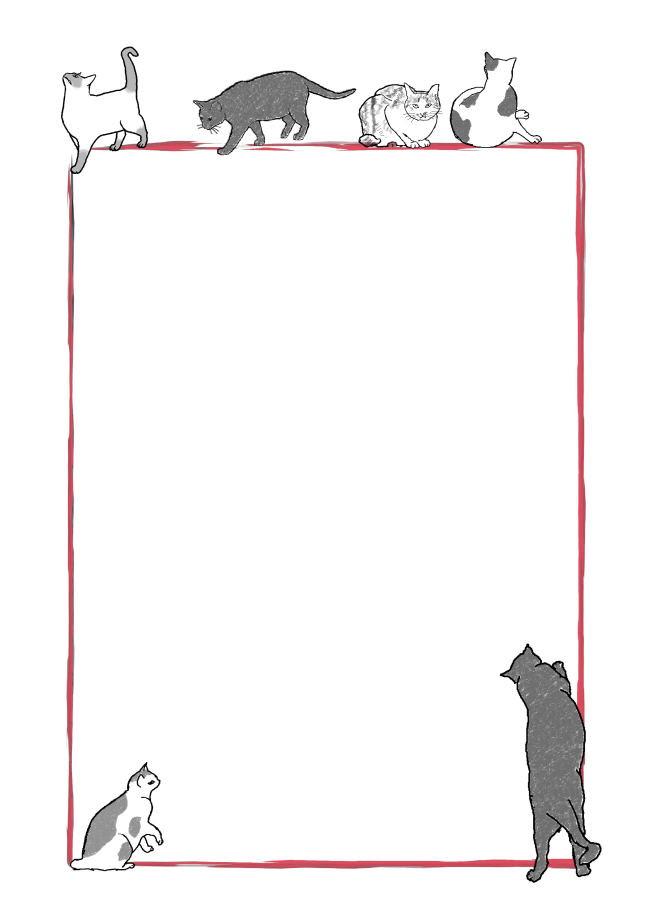 動物の便箋 無料テンプレート 猫 1 Template Millionテンプレートミリオン