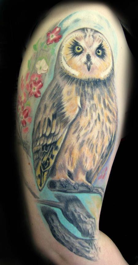 Sorin Gabor At Sugar City Tattoo Tattoos Flower Cherry Blossom Owl