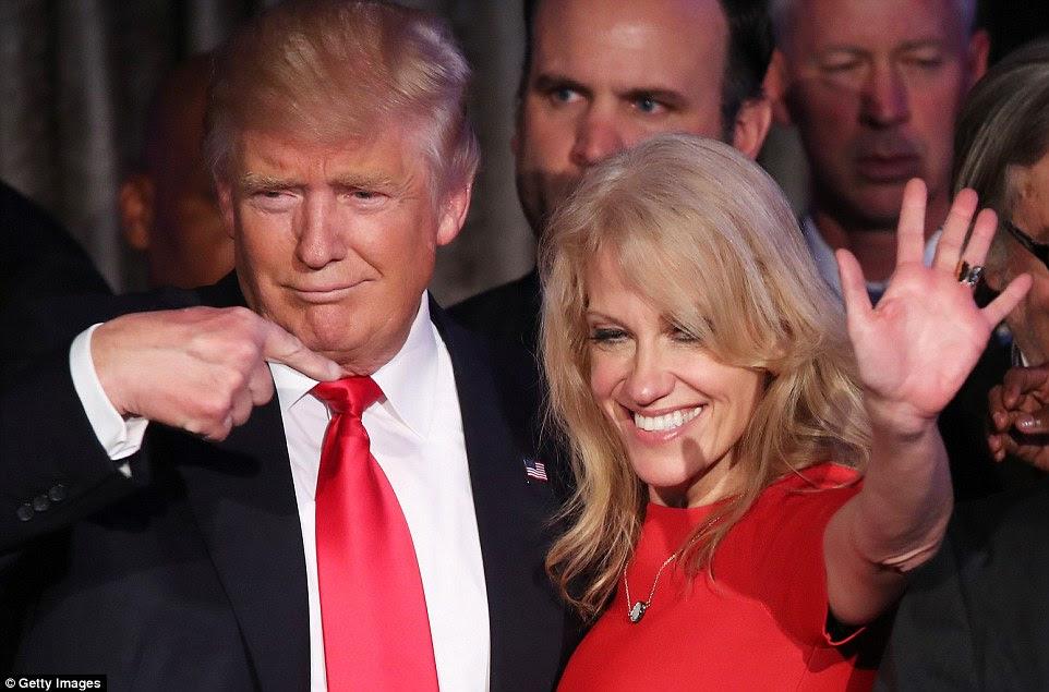 Grato: Donald Trump fez uma homenagem àqueles que o ajudaram a conquistar a Presidência incluindo gerente de campanha Kellyanne Conway