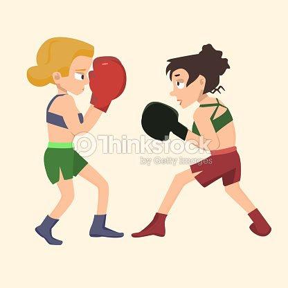 二人の女の子がボクシングベクトル漫画イラスト ベクトルアート Thinkstock