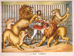 Images/Circus: Lion tamer, lithograph by Gibson & Co., 1873.