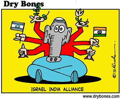 Dry Bones cartoon, Israel, India, Hindu, Jews, Netanyahu,