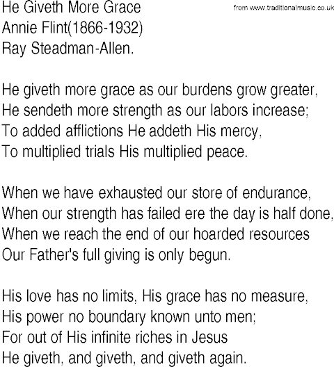 He Giveth More Grace Lyrics By Annie Johnson Flint