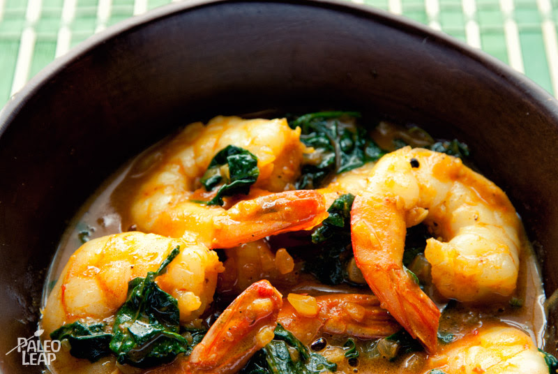 Curried shrimps and spinach
