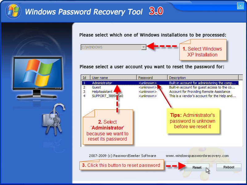 recover forgotten windows xp password