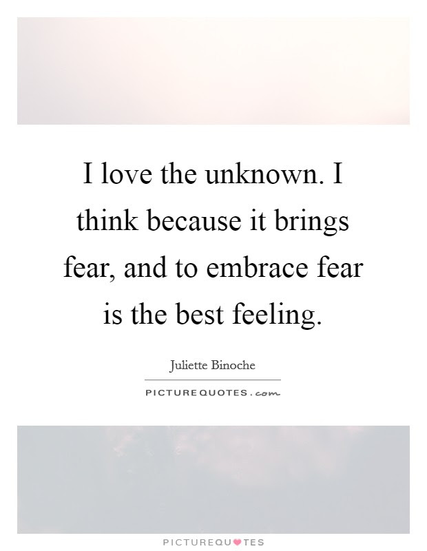 I Love The Unknown I Think Because It Brings Fear And To