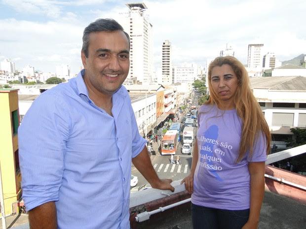 Empresário Elias Tergilene e a presidente da Aspromig, Cida Vieira (Foto: Lucas Catta Prêta/Globoesporte.com/MG)