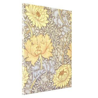 Vintage Floral Wallpaper Chrysanthemums Canvas Print