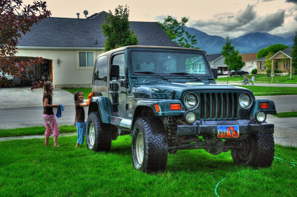 Washing the Jeep