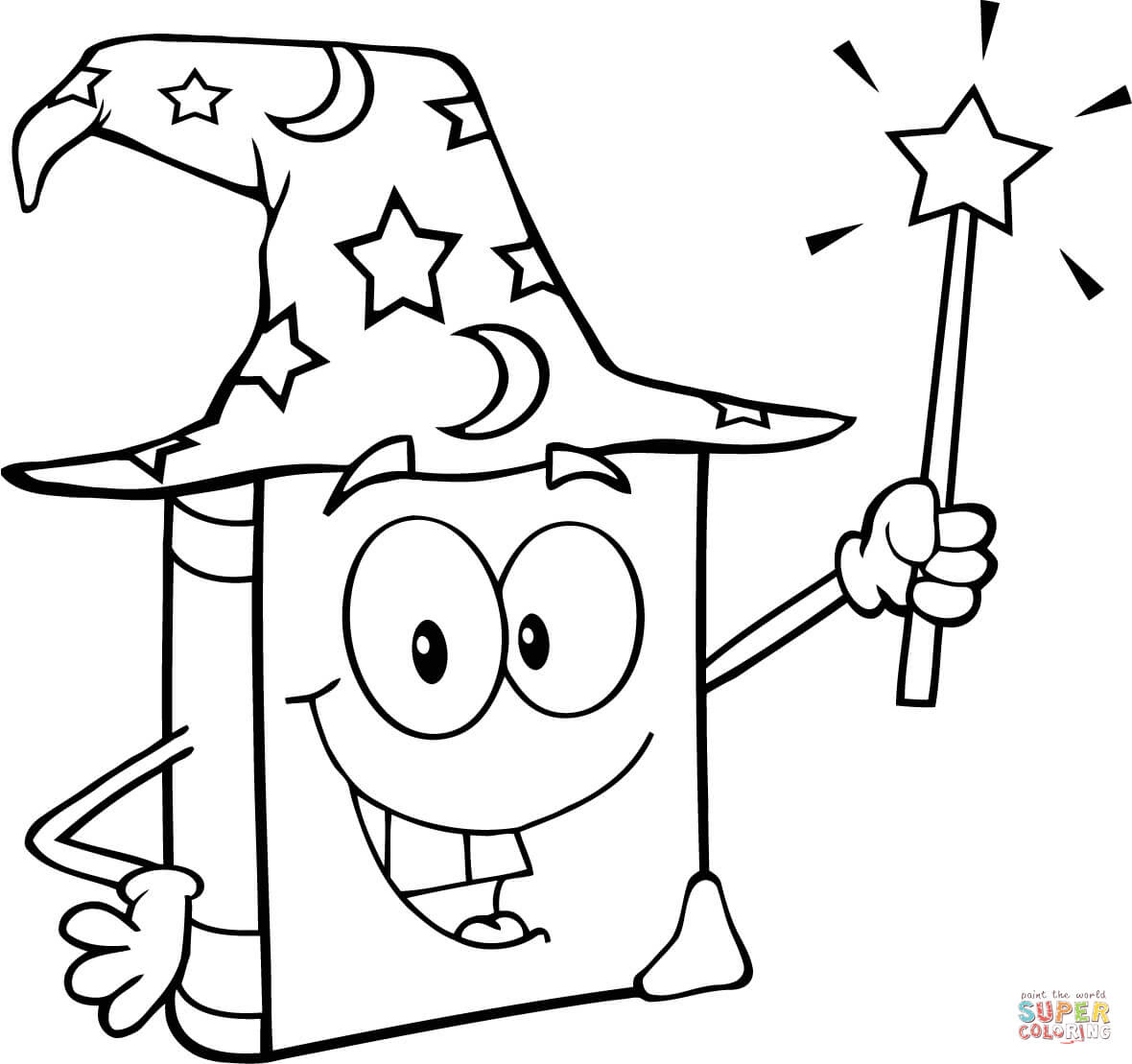 Dibujo De Libro Mágico Con Varita Mágica Para Colorear Dibujos