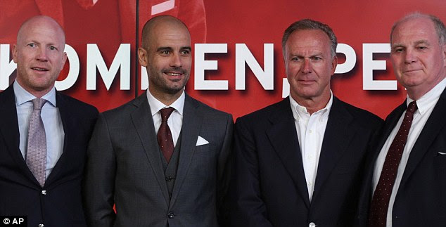Fabulous four: Guardiola was joined by Matthias Sammer, Karl-Heinz Rummenigge and Uli Hoeness
