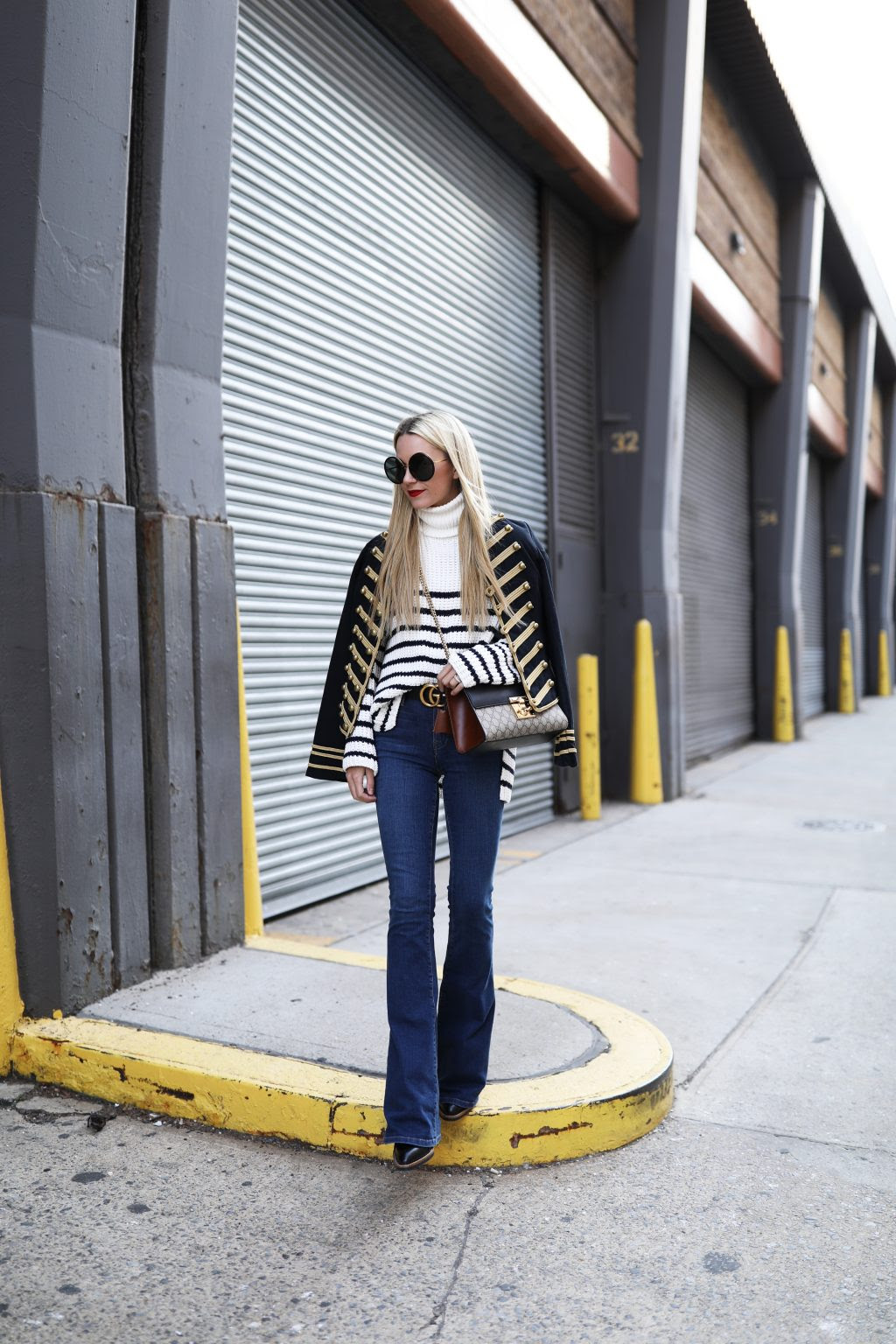 atlantic-pacific-blog-ny-denim-striped-sweater-band-jacket-gold-gucci-bag