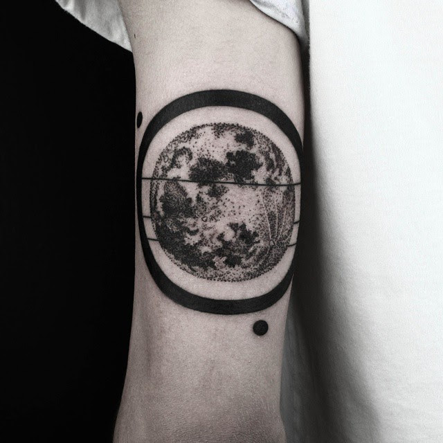 Black Ring Dotwork Planet Tattoo On Arm Best Tattoo Ideas Gallery