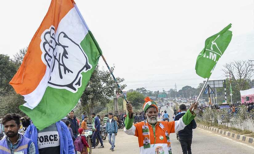 A supporter of Congress and Jharkhand Mukti Morcha (JMM)celebrates in Ranchi. PTI