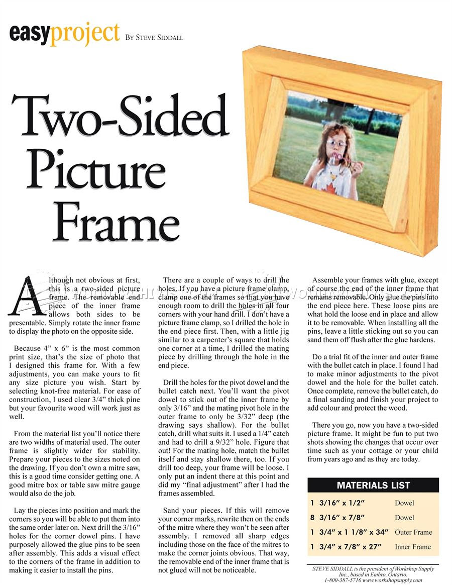 Two Sided Picture Frame Plans Woodarchivist