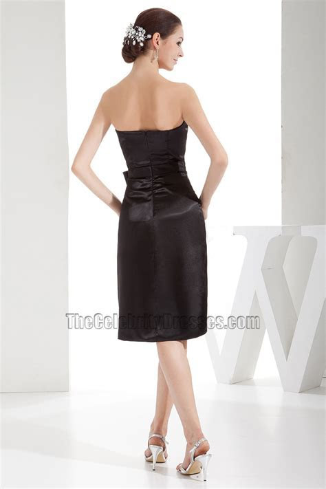 Strapless Black Knee Length Cocktail Party Bridesmaid