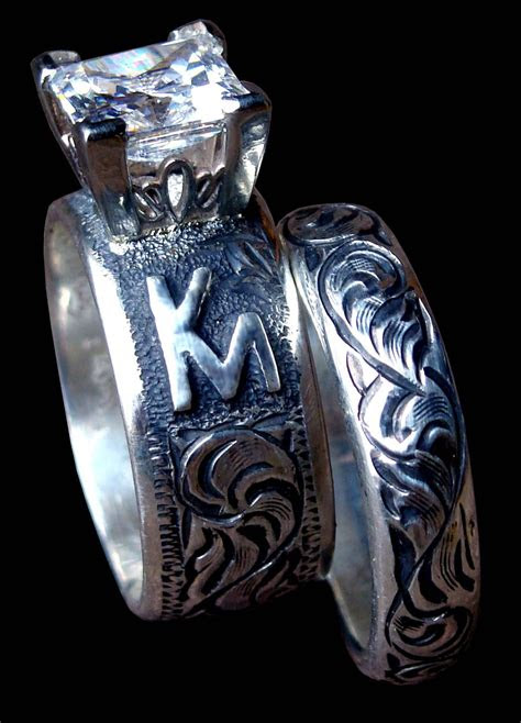 collection  western engraved wedding rings