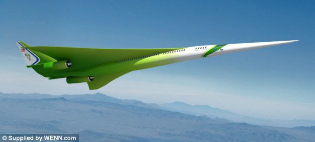 'Lessening sonic booms - shock waves caused by an aircraft flying faster than the speed of sound - is the most significant hurdle to reintroducing commercial supersonic flight,' said Nasa's Aeronautics Research Mission Directorate. Pictured is Lockheed Martin's design for a supersonic aircraft