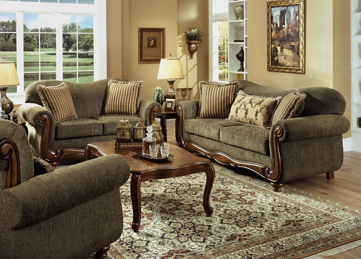 Pine Fabric Traditional Sofa & Loveseat Set w/Rolled Arms