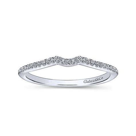 14k White Gold Contemporary Curved Wedding Band   WB8129W44JJ