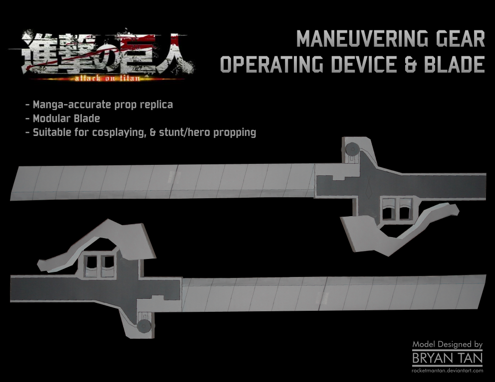 Three Dimensional Maneuver Gear Blades Papercraft