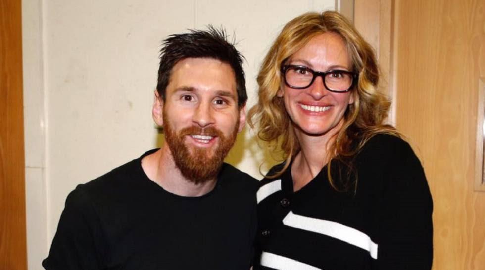 Messi y Julia Roberts, el pasado domingo tras El Clásico en el Bernabéu.