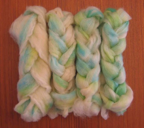 Lincoln lambswool dyed in blues and greens