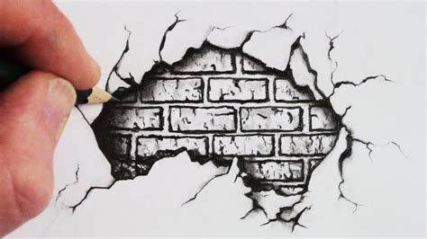 draw  cracked brick wall pencil drawing youtube
