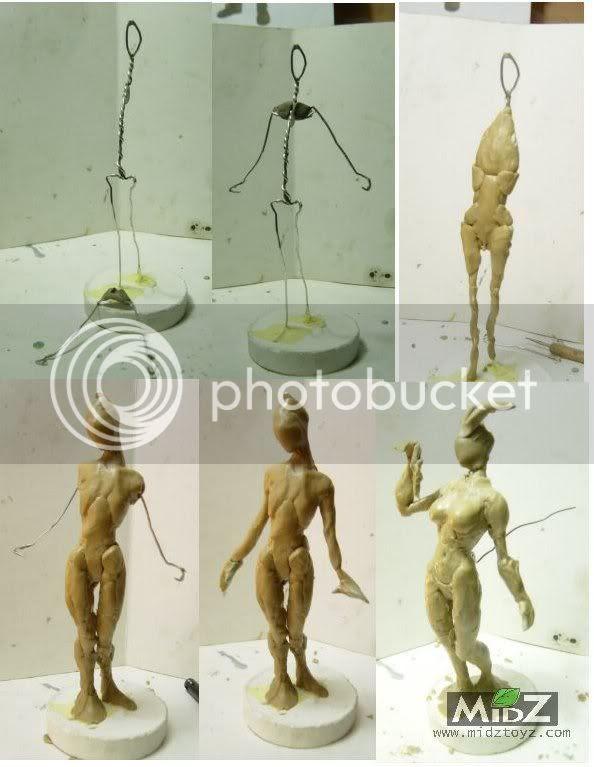 bug babe wax figure sculpt WIP