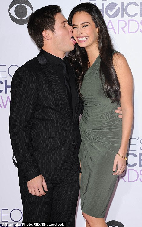 Love on the red carpet: While Adam DeVine put on a VERY affectionate display with girlfriend Chloe Bridges (L), Jason Derulo and girlfriend Daphne Joy made their red carpet debut as a couple