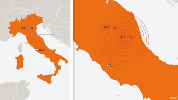 Karte von der Erdbebenregion in Italien (Grafik: DW)