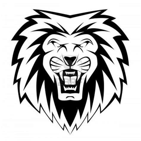 roaring lion black  white clipart panda