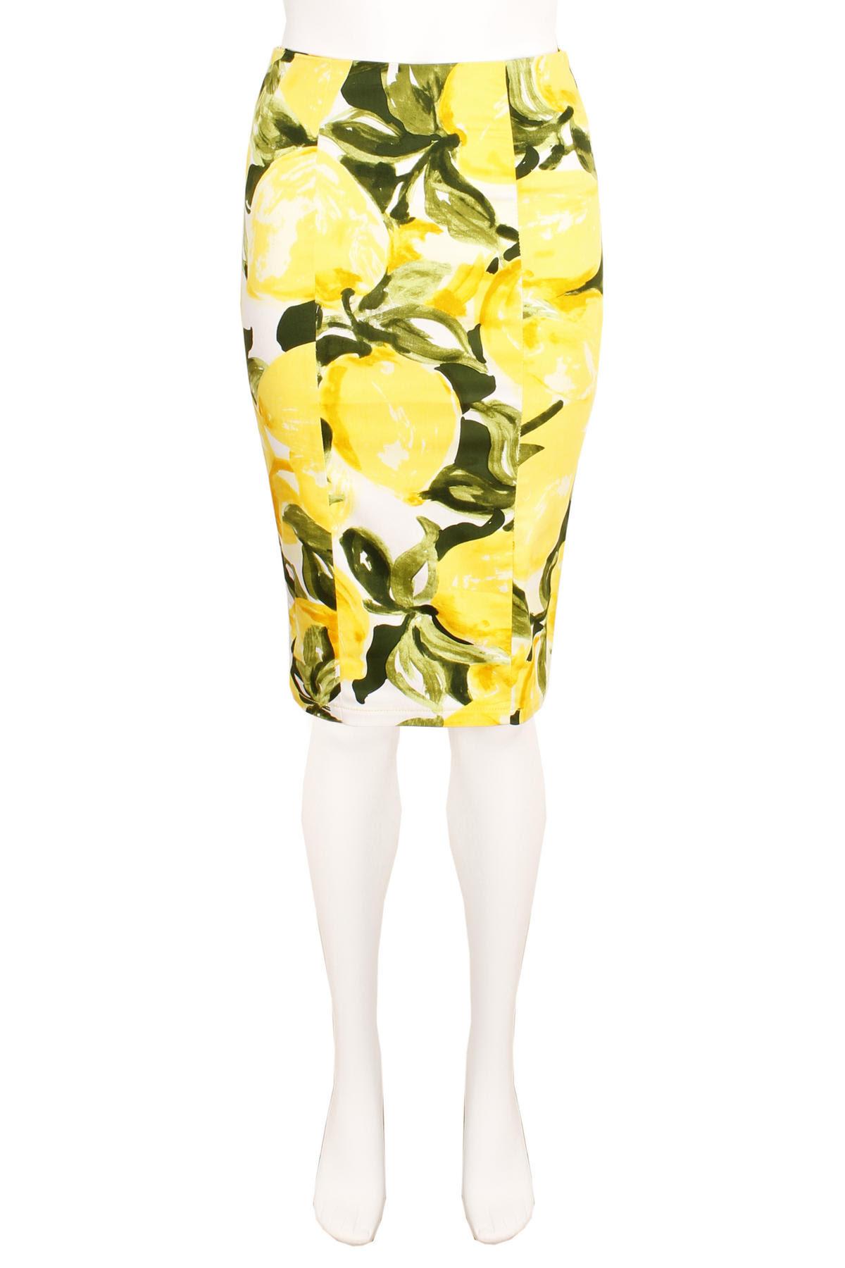View Item Yellow Fruit Print Pencil Skirt