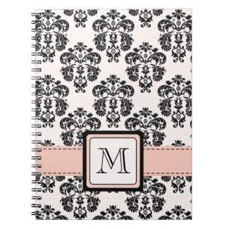 Monogrammed Pink Black Damask Spiral Notebook Jour notebook