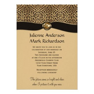 Leopard Print FAUX Ribbon Jewel Wedding Invitation
