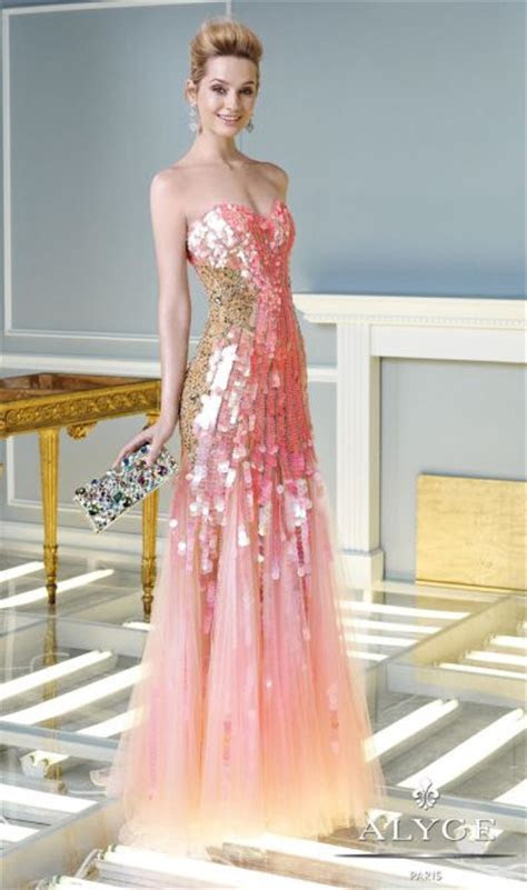 Alyce Claudine 2329 Iridescent Sequin Formal Gown: French