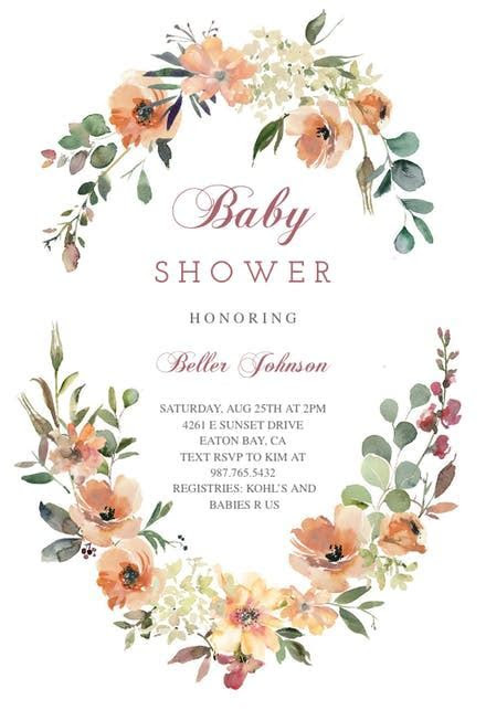 Peach & Cream Florals   Baby Shower Invitation Template