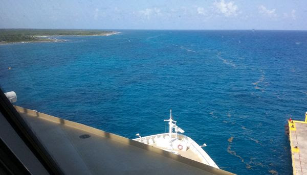 A snapshot of Costa Maya's coastline and Norwegian Jade's bow from inside the Spinnaker Lounge on Deck 13 of the ship, on March 21, 2018.