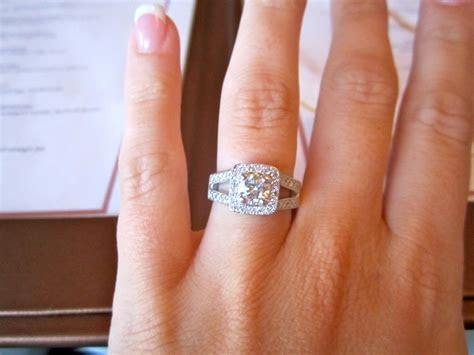 My e ring. Round diamond with a square halo around it