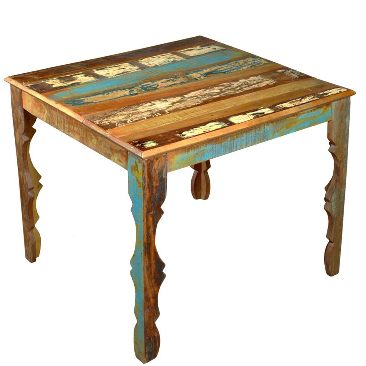 Rustic Reclaimed Wood 36\u0026quot; Square Dining Table w Decorative Legs