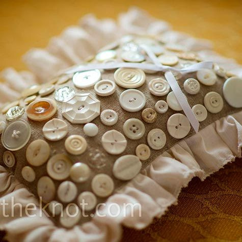 Vintage Ring Pillow: The buttons are so cute!   http://weddings.theknot.com/Real-Weddings/84937/detailview.aspx?type=3&id=84937