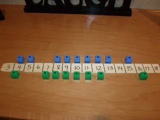 Walk the Plank: practicing addition facts to 20- Both players line up cubes, roll dice and add, take the opponent's sum cube. First person to take all of the other player's cubes wins.