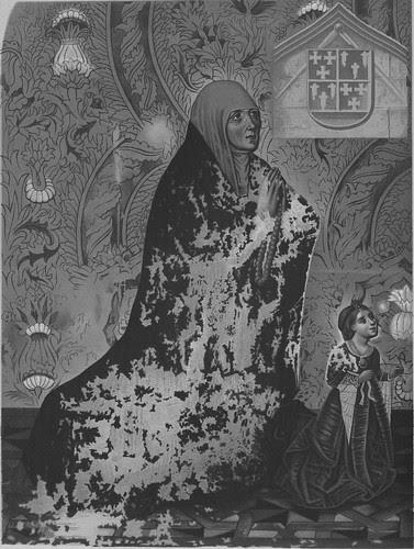 Retratos de Mari Alvares, mujer de Juan Guas, y de su hija en la Capilla del Cristo de la Columna en la Parroquia de San Justo a principios del siglo XX