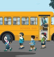Illustration of children getting off bus with masks on