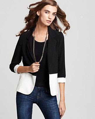 Aqua Color Block Girlfriend Blazer